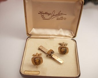 Vintage Tigers Eye  Cufflinks Tie Clip Set Hershbergs Jewelers original box Cameo Hand Engraved Roman Soldier Wedding centurion centurian
