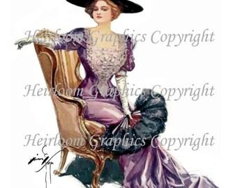Harrison Fisher Victorian Woman Digital Download  Vintage Harrison Fisher  Victorian Woman