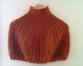Handknit Turtleneck Capelet  in  Pumpkin Spice - Shoulder Wrap - Made-to-Order