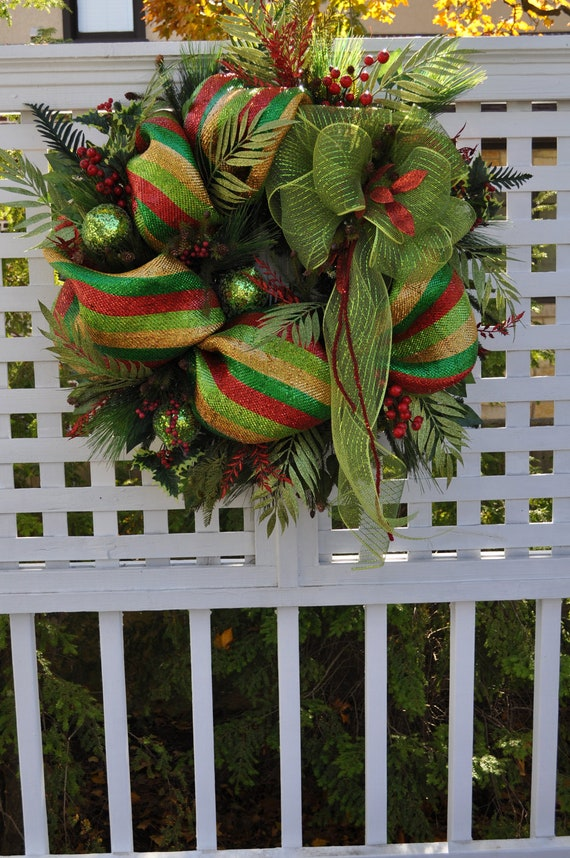 Xl handmade christmas wreaths front door wreath full deco mesh for Front door xmas wreaths