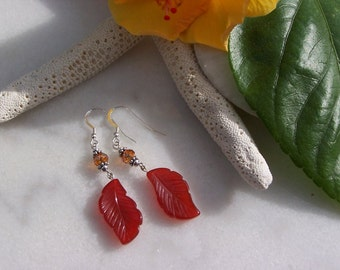 Agate Earrings, Red Agate Earrings, Leaf Earrings, Agate Leaf Earrings, Swarovski Earrings, Sterling Silver Earrings, Gemstone Earrings