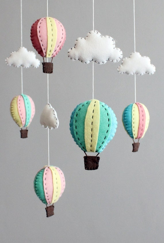 diy baby mobile kit - make your own hot air balloon cot crib mobile, pink blue turquoise