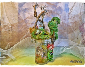 SALE ThE ZoMbiRariUm Miniature mossy Terrarium Diorama with a little grotesque Walking Dead  creature by Wild Pearly