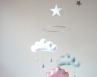 """White,Grey, Pink cloud and Star  mobile for nursery with silver star """"CHLOE"""" by The Butter Flying-Rain Cloud Mobile Nursery Children Decor"""
