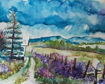 Landscape Art - Purple Dames Rocket Ranch Wall Art stormy mountains ORIGINAL watercolor barn art - old farm vista 9x12 painting layaway OK