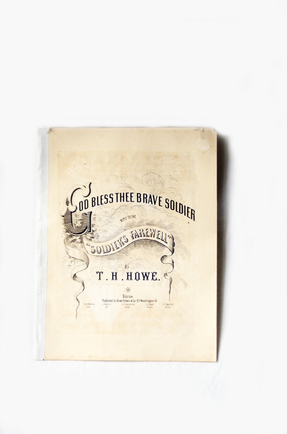 Antique Sheet Music, God Bless Thee Brave Soldier