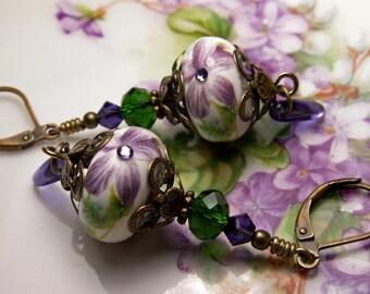 Purple Green Crystal Drop African Violet Flower Victorian Earrings Antiqued Bronze Filigree Titanic Temptations Vintage Bridal Style Jewelry