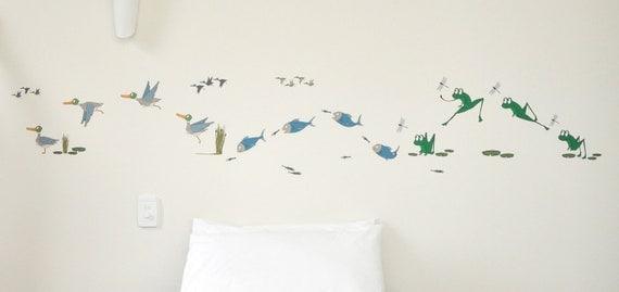 SALE** Baby nursery decor, decals for nursery, gender neutral wall art, animal decals, frogs, ducks, fish, baby room wall art
