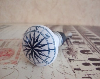 Wine Bottle Stopper - Nautical Star Compass Wine Stopper