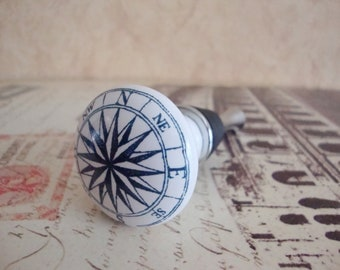 Wine Bottle Stopper - Nautical Star Compass Wine Stopper