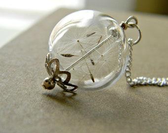 Close Your Eyes & Make A Wish..... Dandelion Seeds, Glass Orb, Hope, Keep Sake