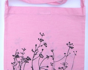 SALE Meadow hand printed  bright pink lightweight cotton bag with long strap