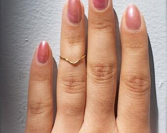 Short Chevron Midi Ring / Knuckle Ring - Handmade. Tarnish Resistant. Hypoallergenic. Adjustable. In Gold, Silver, Copper / Rose Gold.