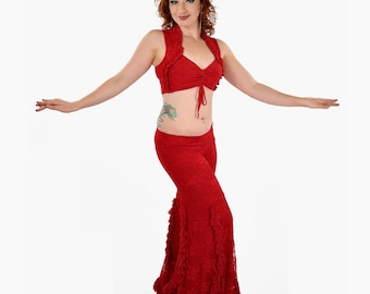 Carmen Top - Red Lace -  bellydance, tribal fusion belly dance
