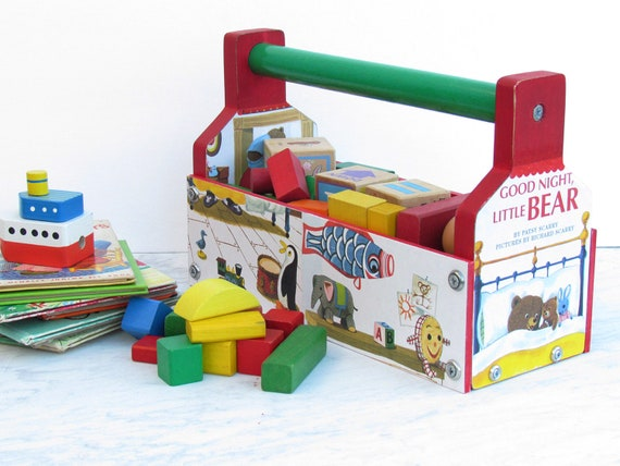 Building Blocks Storage Tool Caddy - Toy Tool Box Organizer - Decoupaged Toy Organizer - Decoupaged Tool Caddy for Children's Toys
