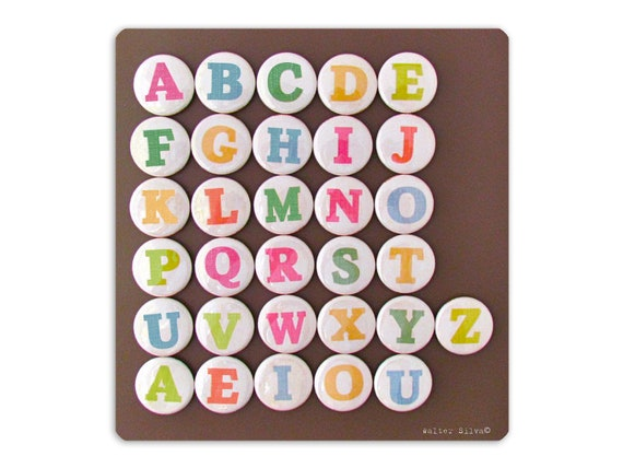Alphabet Letter Magnets Learning Toy - Modern Type Face Magnets - Home Schooling magnets - Back to School - Uppercase or Lowercase Available