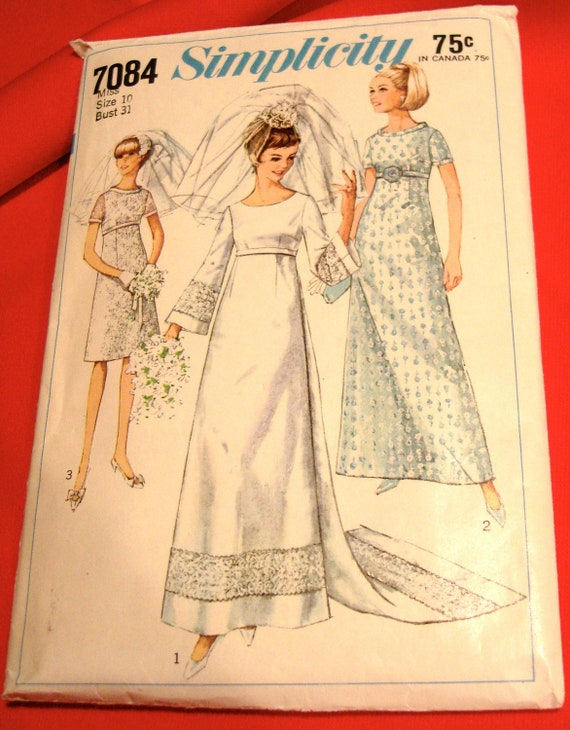 Wedding Dress Patterns Empire Line : S wedding dress bridesmaid pattern simplicity sz