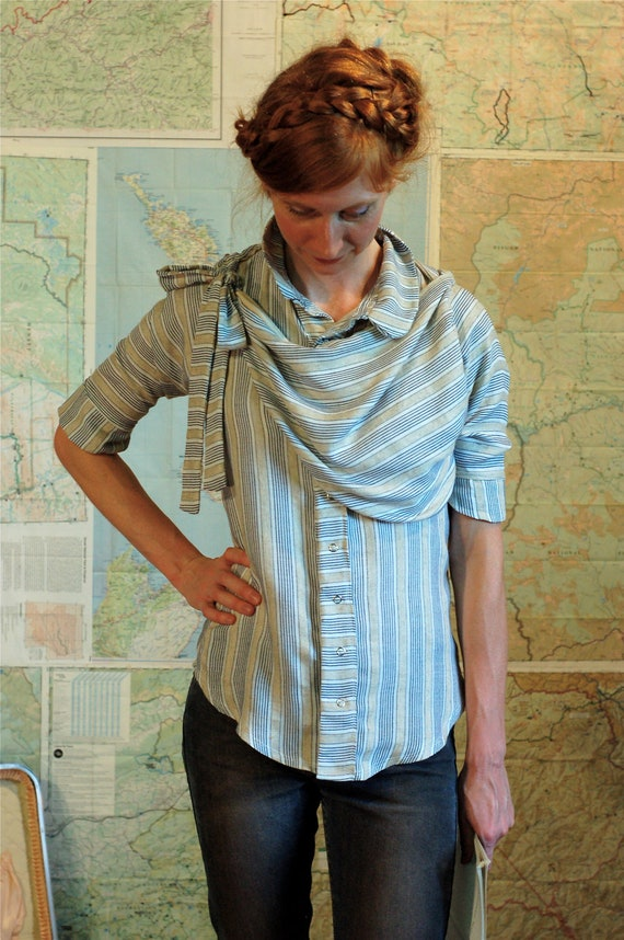 pioneer blouse - women's button up shirt, pinstripes and draped cowl, bow blouse.