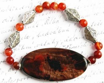 Bohemian Jewelry, Agate Slice Bracelet, Orange Brown Stone Bracelet, Natural Carnelian Bracelet, Antique Silver Diamonds, Genuine Gemstones