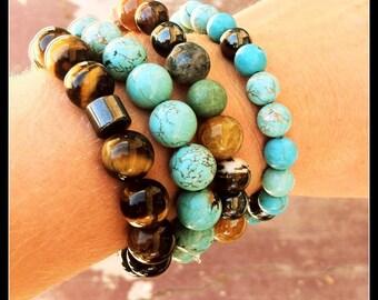Tigers Eye Bracelet | Boho Bracelet | Natural Stones | Hematite Stones | Healing Stones | Beaded Bracelet | Mens Bracelet | Boho Bracelet