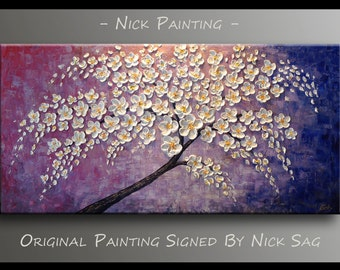 """Original Contemporary painting on canvas Oil and Acrylic Impasto -White Flowers On Purple- By Nick Sag 48"""" x 24"""""""