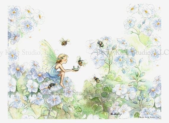 Bumble Bee Tea, Fairy Art Print, 8 X 10,  girls room art, print, fairy in periwinkle blues, with hand painting, art