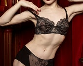 Soft Black Lace & Silk Panty Vintage Inspired Knickers Soft Luxury