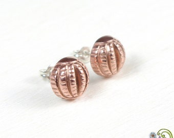 SALE - sphere stud earrings, copper post earrings, geometric earings, textured, 3D, handcrafted, copper metal clay, artisan,