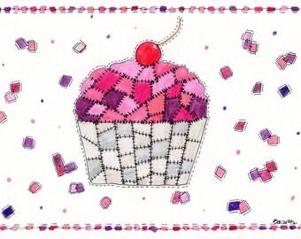 original patchwork cupcake watercolor painting 7x10