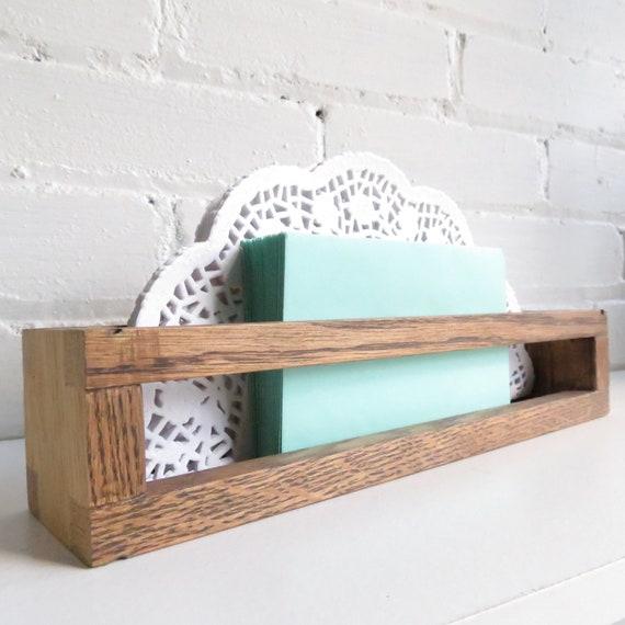 Wooden Walnut Vintage Desk Organizer and Letter Butler