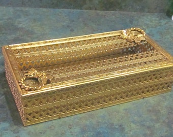 Ornate Gold Filigree Kleenex Tissue Box 1960 Era