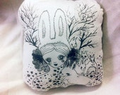 Decorative Girlish Pillow - Girl and rabbits original paint on cotton