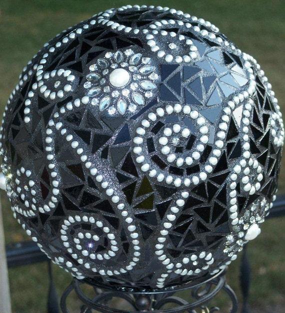 A Formal Affair Mosaic Gazing Ball on Pedestal