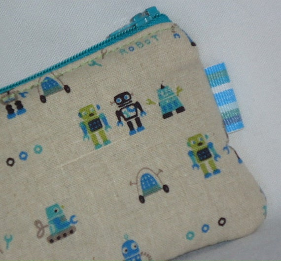 Robot Lover Padded Zippered Pouch --- Blue (Camera / Cell Phone Case / Coin Purse)