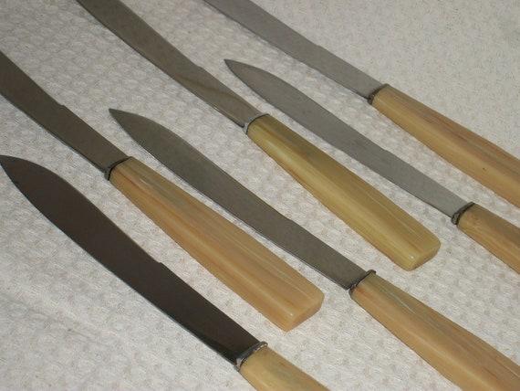 set 6 French dinner knives 1950s