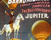 Jupiter Balloon Horse Barnum & Bailey Circus Poster 1900s Full Color Advertisement Lithograph To Frame