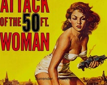 Attack Of The 50 Foot Woman 1950s Sci Fi Horror Movie Poster Full Color Advertisement USA Lithograph To Frame Science Fiction