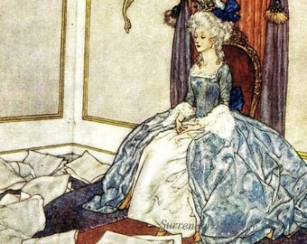 Messy Princess Snow Queen  Edmund Dulac Hans Andersen Vintage Children's Fairytale Nursery Lithograph Print To Frame