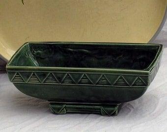 Dark Green Bonsai Planter American Pottery Vintage Ceramic Organizer Mid Century 1950s