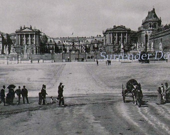 Royal Palace Versaiiles France 1890 Vintage Rotogravure Black & White Victorian Photo Illustration To Frame