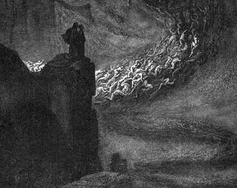 Lustful Souls Infernal Hurricane  Inferno Canto 5 Engraving Gustave Dore' Hell
