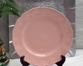 Peach Petal Grindley England Dinner Plates Pink Scalloped Set Of Two Vintage Mid Century China 1940s 1950s