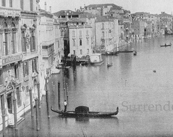 Grand Canal Venice Italy 1890 Vintage Victorian Gothic Architecture Rotogravure Illustration to Frame