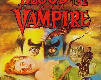 Blood Of The Vampire 1950s Film Sci Fi Horror Movie Poster Full Color Advertisement Film Lithograph To Frame Science Fiction
