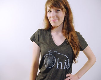 Dark Grey Womens V-Neck Ohio Bike Tshirt, Screenprinted Tshirt, Charcoal Triblend, Vintage Bike Tshirt