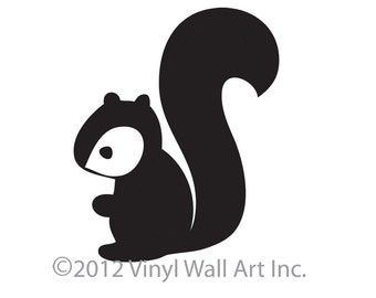 Woodland Squirrel Decal Sticker Vinyl Wall Art, size SMALL, Squirrel wall decal, Squirrel Wall Sticker