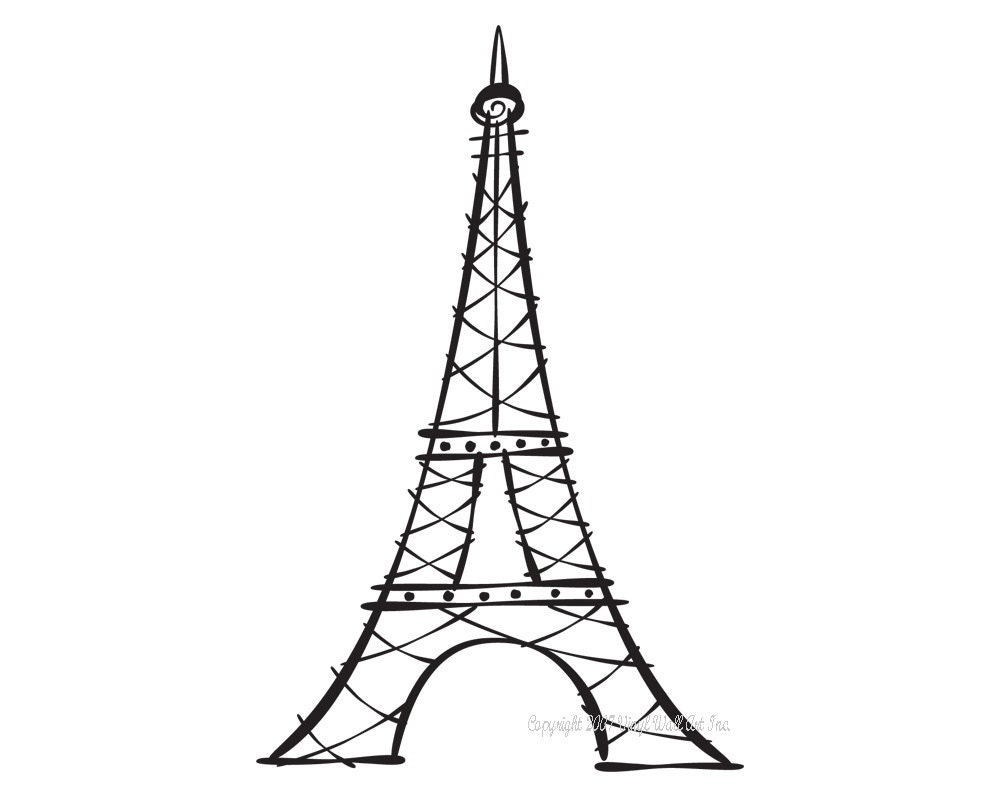 Line Drawing Eiffel Tower : Eiffel tower vinyl decal size small home decor office