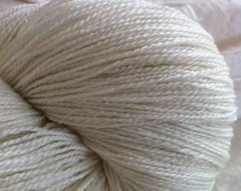 LACE Glimmer Merino Silk Stellina Lace  Undyed Yarn, Ecru Lace Yarn Blank, Lace Stellina Yarn, Wedding Shawl Yarn,