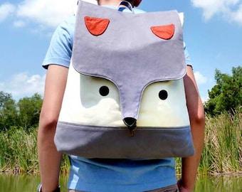 Fox Backpack, Fox Bag, Diaper backpack, Laptop backpack, Fabric backpack, large backpack, Gray Fox BackPack, GRAY bag, 4 WEEKS TURNAROUND