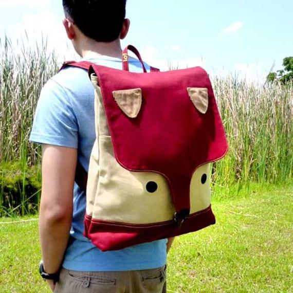 Fantastic Fox Backpack, Fox UNISEX BackPack, Fox Bag, Fox Diaper Backpack, Laptop Backpack - Burgundy Beige Color - 4 WEEKS TURNAROUND
